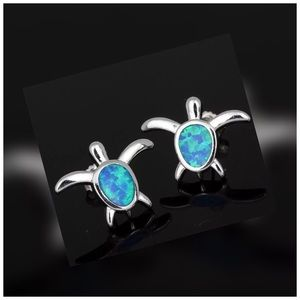 CUTE Blue Fire Opal Silver Turtle Earrings